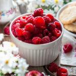 Raspberries in a white bowl