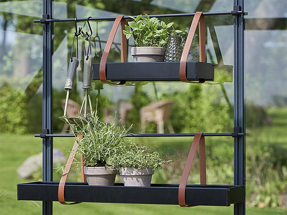 Two Juliana hanging Shelves with leather straps with tools and plants