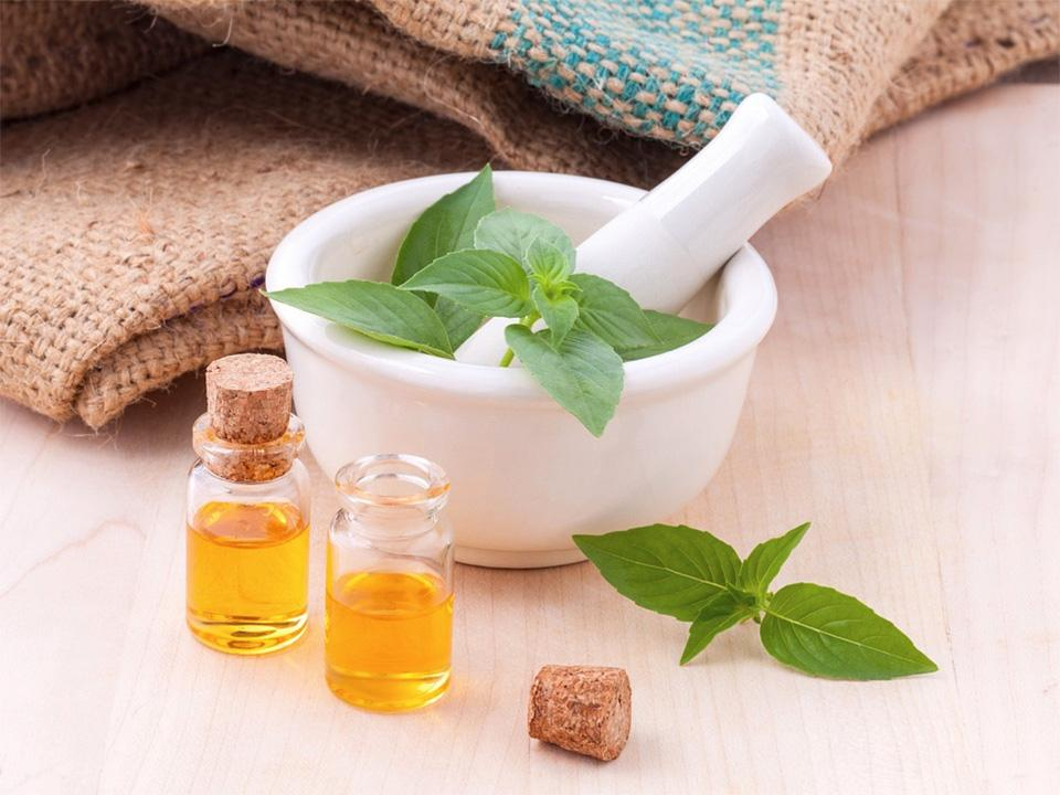 Basil leaves in and out of a mortar and pestle with some basil essential oils in two small clear bottles