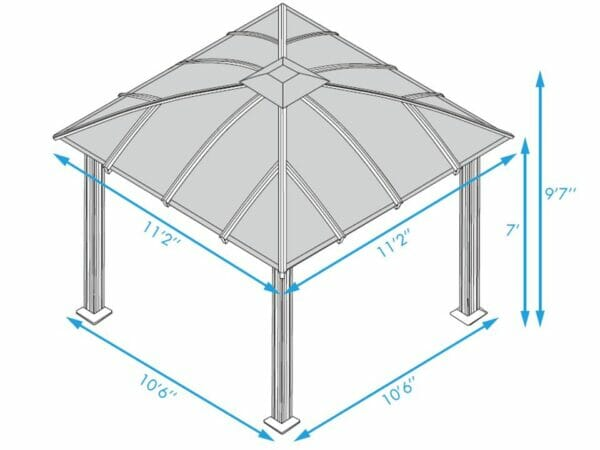 Paragon Cambridge Hard Top Gazebo 12ft x 12ft Dimensions