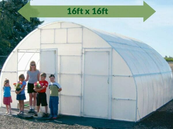 Solexx 16ft x 16ft Conservatory Greenhouse G-316 - full view - people outside standing - green arrow on top showing dimensions