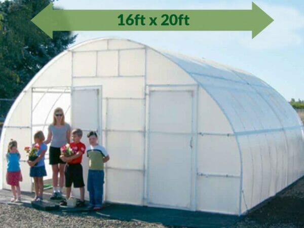 Solexx 16ft x 20ft Conservatory Greenhouse G-320 - full view - people are outside - green arrow on top showing dimensions