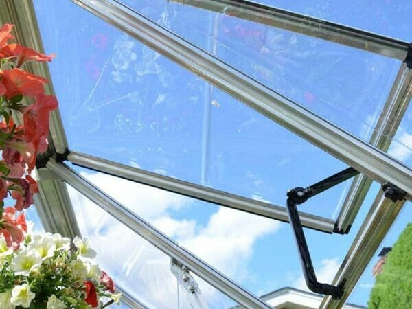 Palram 6ft x 16ft Snap & Grow Hobby Greenhouse - open roof vent from the inside