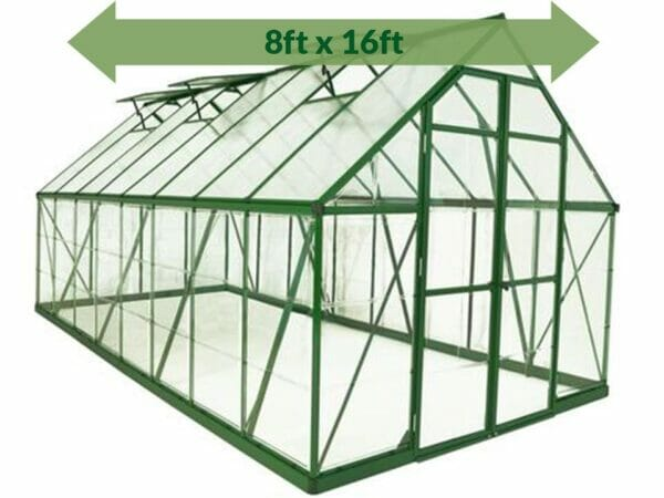 Palram 8ft x 16ft Balance Hobby Greenhouse - HG6116G - white background - with arrow on top