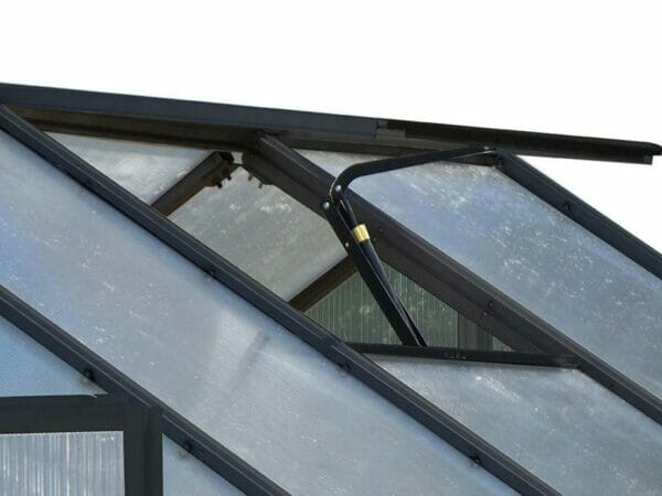 Riverstone Monticello Greenhouse 8x16 - Premium Package - roof vent with automatic opener