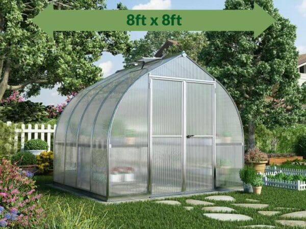 Palram Bella Silver 8ft x 8ft Hobby Greenhouse HG5408 - full view - with green arrow on top - in a garden