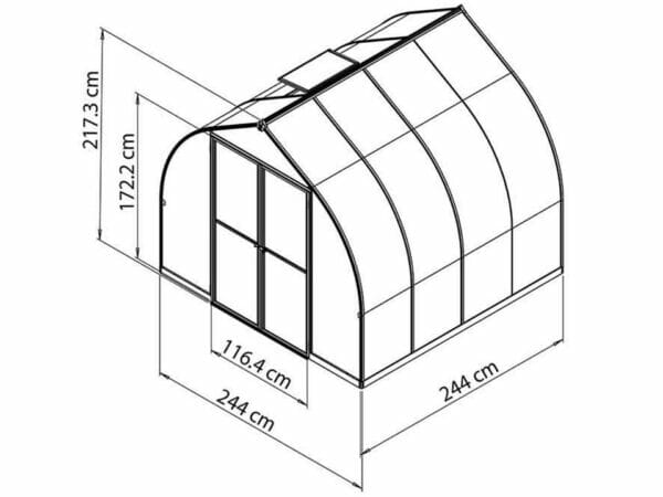 Palram Bella Silver 8ft x 8ft Hobby Greenhouse HG5408 - full view - framework with dimensions