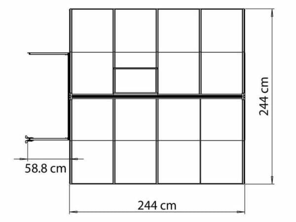 Palram Bella Silver 8ft x 8ft Hobby Greenhouse HG5408 - top view with dimensions