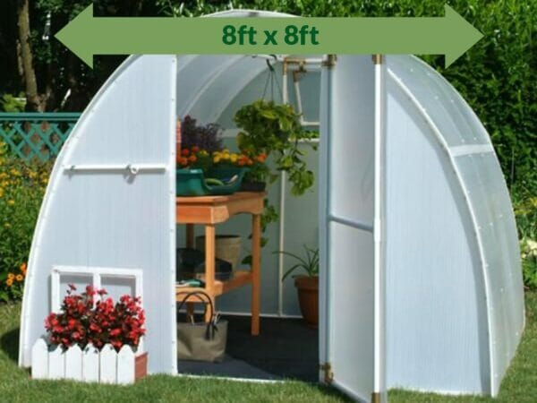 Solexx  8ft x 8ft Early Bloomer Greenhouse G-108 - front view - open door with plants and flowers