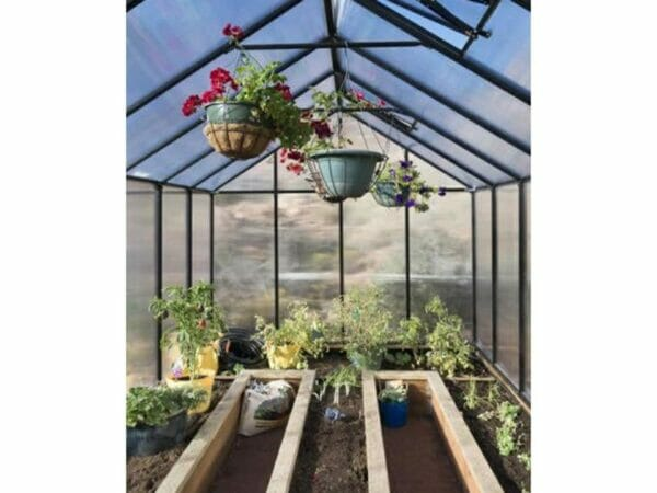 Riverstone Monticello Greenhouse 8x16 - Mojave Package - interior view - with plants and flowers