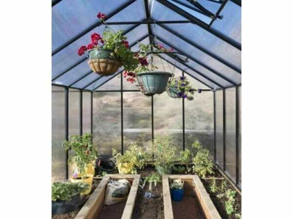 Riverstone Monticello Greenhouse 8x24 - Mojave Package - interior view with plants and flowers