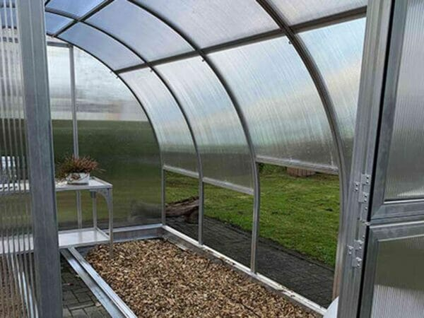 Arcus 4 Greenhouse 10x13 - Open door - Front view showing the right interior
