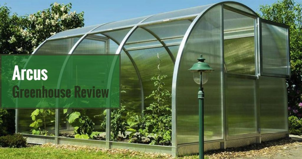 3-Tier Arcus Greenhouse with open side panels and open upper part of the door. Text says Arcus Greenhouse Review