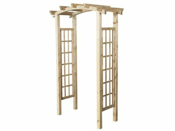 Natural Wooden Garden Arbor with white background