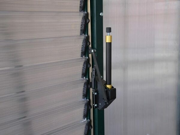 Installed Automatic Louver Window Opener for Palram and Rion Greenhouses - close up