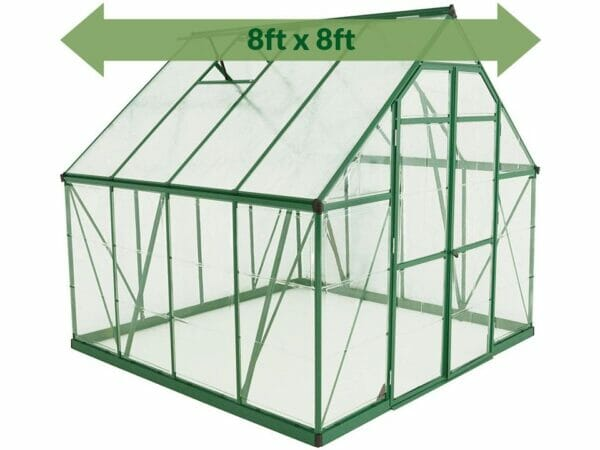 Palram 8ft x 8ft Balance Hobby Greenhouse - HG6108G - white background - with green arrow on top