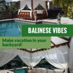 Handcrafted Balinese Solid Wood Gazebo by the pool and below is the interior view with the text saying Balinese Vibes Make vacation in your backyard
