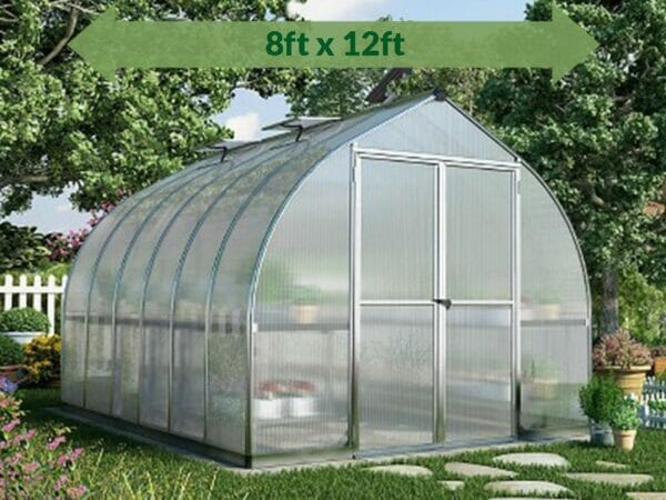 Palram Bella Silver 8ft x 12ft Hobby Greenhouse HG5412 - full view - arrow on top - in the garden