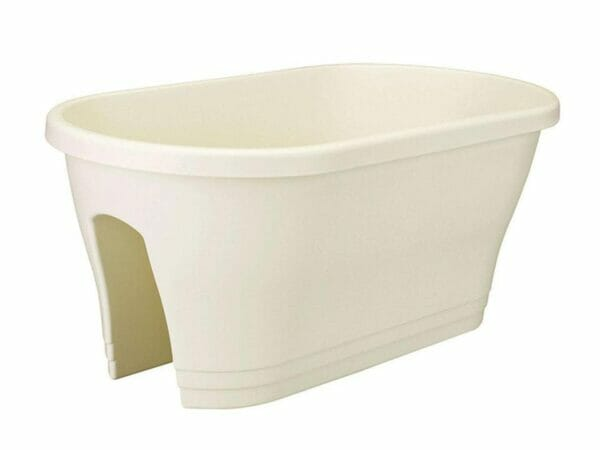 Light beige ELHO Bridge Planter with Cover