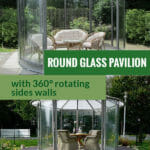The image above shows Hoklartherm Classico Garden Pavilion installed in a garden with a living room set up. The image below shows the dining set up. The text in the middle says Round Glass Pavilion with 360° Rotating Side Walls