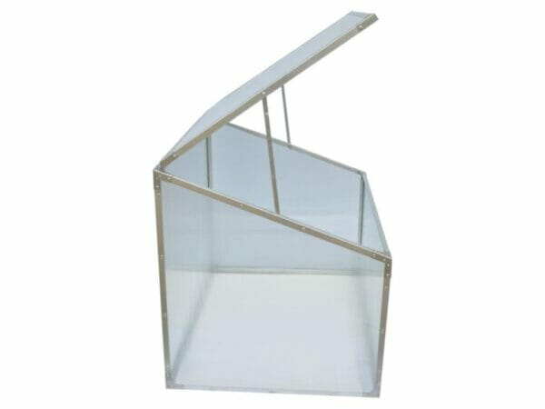 Delta Park Single Cold Frame. Side View. Open Roof Panel