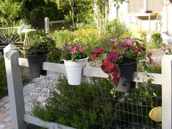 Three ELHO Round Corsica Flower Bridge Planters