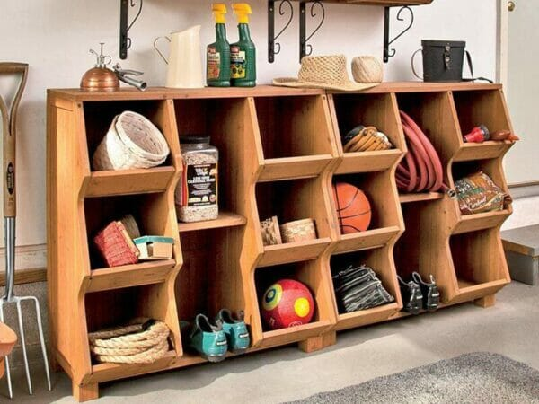 Double Storage Cubby Shelf with tools