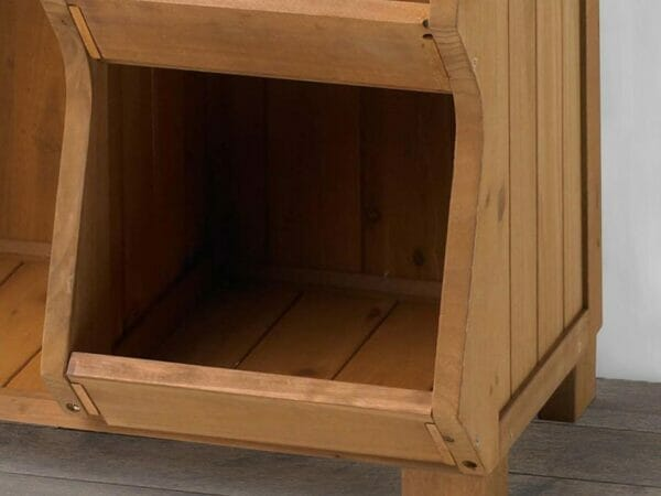 Corner bottom of Storage Cubby Shelf