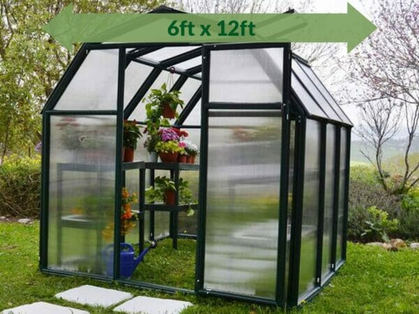 Rion 6ft x 12ft EcoGrow 2 Twin-Wall Greenhouse - HG7012 - full view - green arrow on top - in a garden