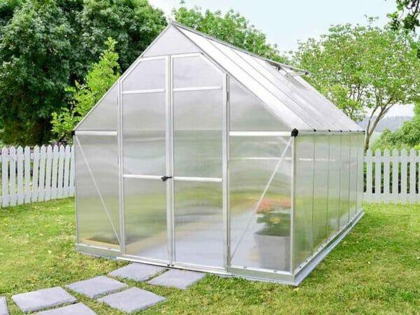 Palram Essence 8ft x 12ft Hobby Greenhouse - HG5812 - closed door - in a garden