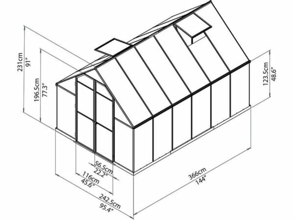 Palram Essence 8ft x 12ft Hobby Greenhouse - HG5812 - full view of framework with dimensions