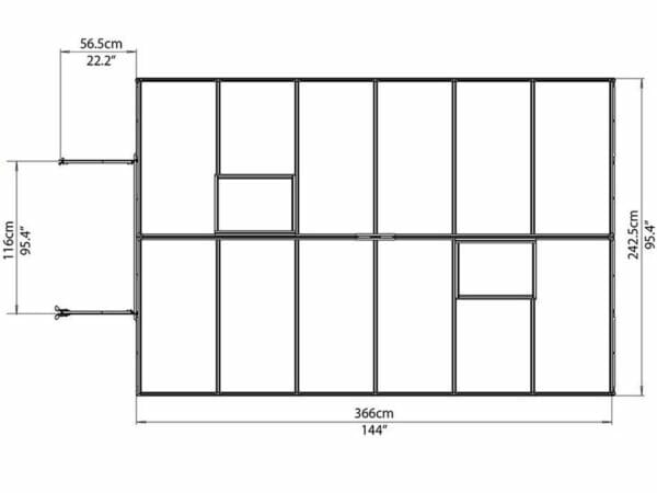 Palram Essence 8ft x 12ft Hobby Greenhouse - HG5812 - top view of framework with dimensions