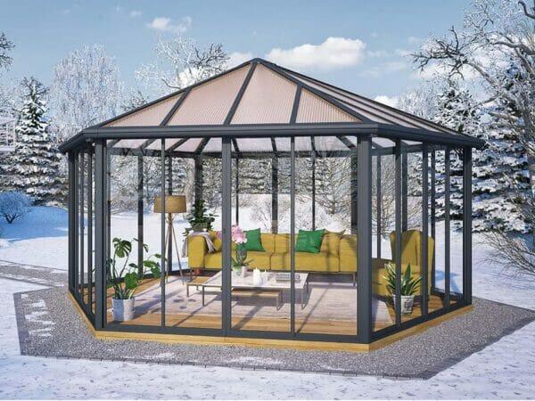 Garda Garden Pavilion with a living room set up in a garden