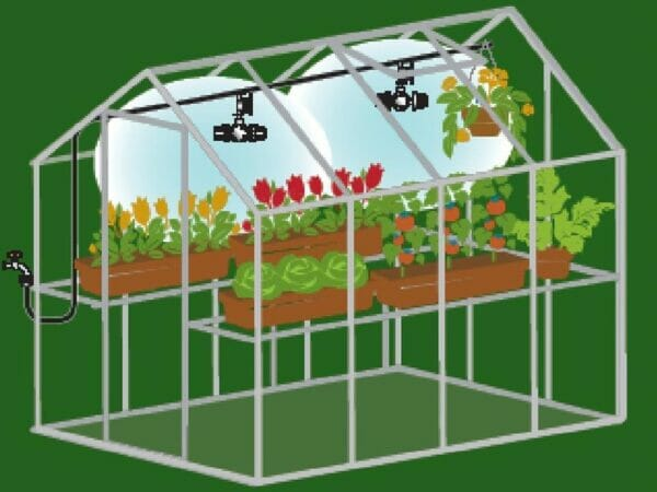A diagram of Genesis Mister Kit showing the coverage of mists inside a greenhouse