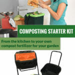 RSI Tumbler Composter with a black cart on the right, bin in the middle and green corn bags and above is a woman pouring compost inside the bin with the text: Composting Starter Kit - From the kitchen to your own compost fertilizer for your garden