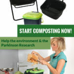 RSI Tumbler Composter with a black cart on the right, bin in the middle and green corn bags and below is a woman pouring compost inside the bin with the text: Start composting now! Help the environment & the Parkinson Research