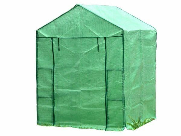 Large green Genesis Portable Walk In Greenhouse with closed roll-up door and white background