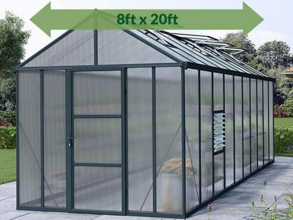 Palram Glory 8ft x 20ft Hobby Greenhouse HG5620 - full view - arrow on top - in a garden