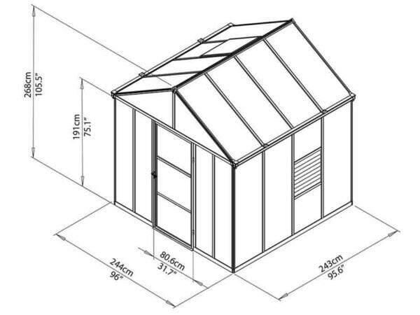 Palram Glory 8ft x 8ft Hobby Greenhouse HG5608 - full view of framework with dimensions