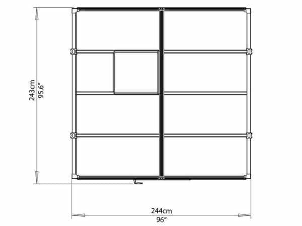 Palram Glory 8ft x 8ft Hobby Greenhouse HG5608 - top view of framework with dimensions