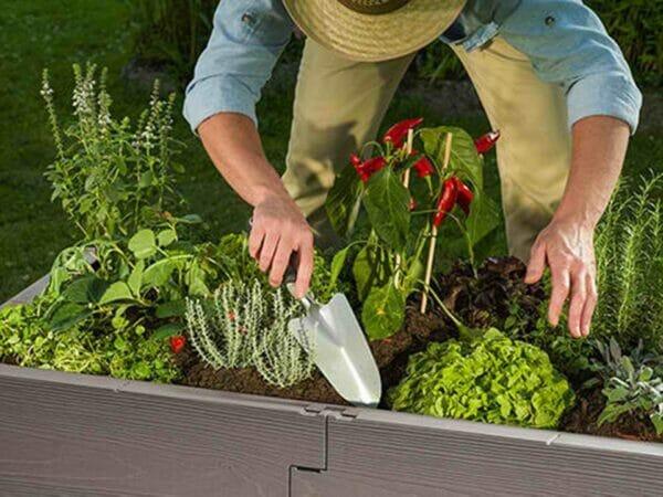A man gardening using Gray Timber Raised Bed