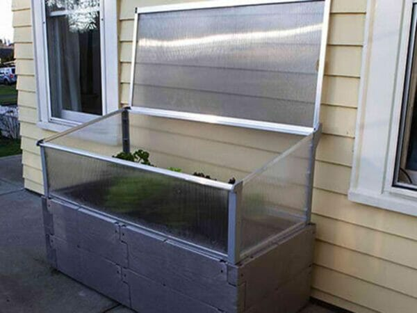 Grey Timber Raised Bed with Year Round Cold Frame by the House Fully Open ×