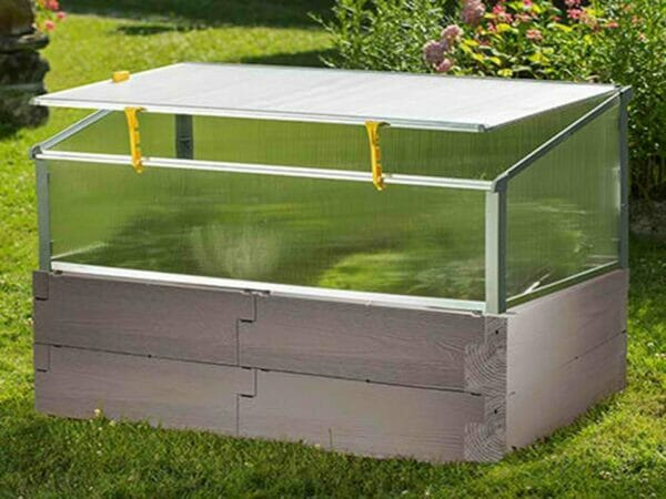 Grey Timber Raised Bed with Open Year Round Cold Frame and plants inside