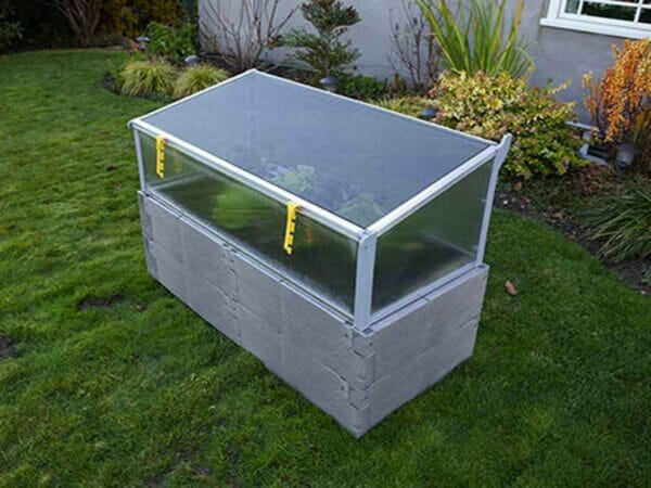 Grey Timber Raised Bed with Closed Year Round Cold Frame 3/4 View