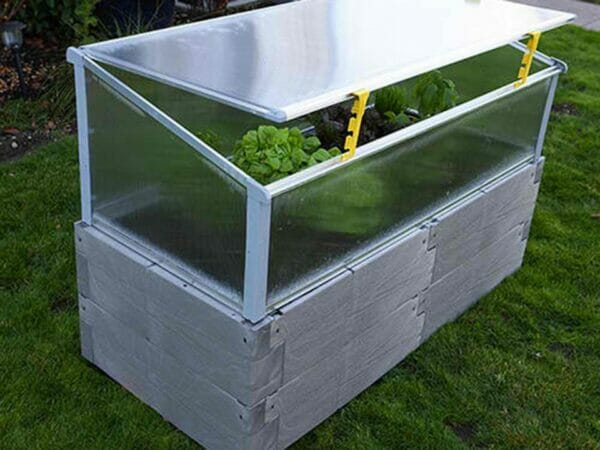 Grey Timber Raised Bed with Year Round Cold Frame Using Openers