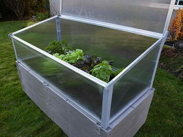 Grey Timber Raised Bed with Year Round Cold Frame Top Panel Open