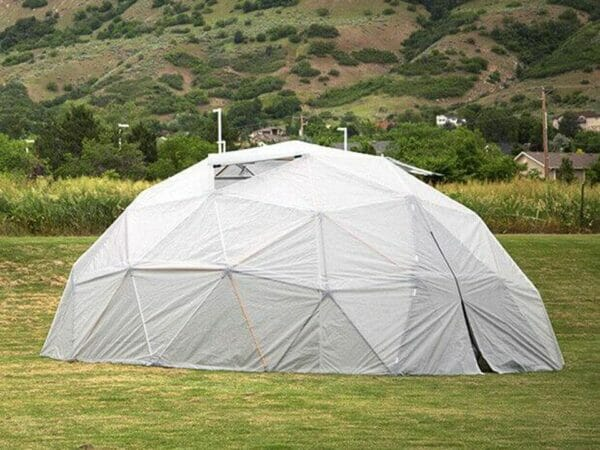 24-feet wide Harvest Right Geodesic Dome Greenhouse in a garden