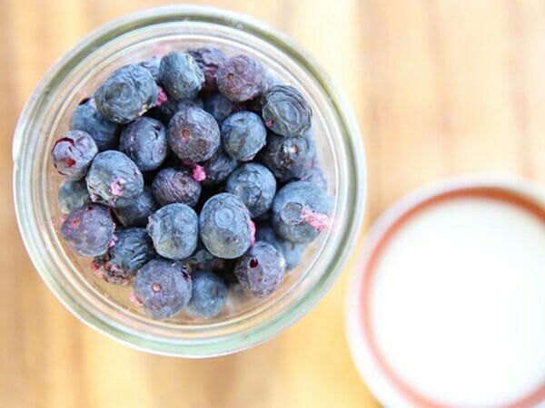 Frozen dried blueberries