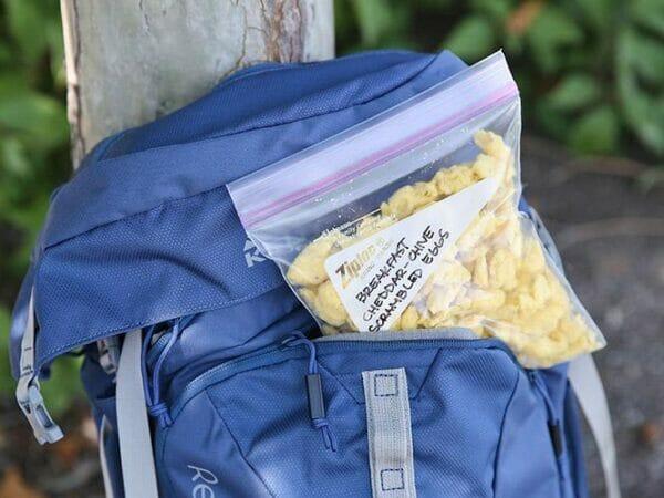 Frozen dried scrambled egg in a Ziploc bag