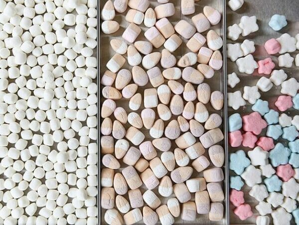 A variety of frozen dried candies